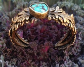 "Bronze Garland cuff - ""Dancing Ant"" Turquoise - Plant inspiration - Garden Jewelry - handmade in Austin, Tx"