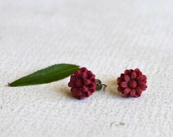 Red Flower Earring Studs- Titanium Chrysanthemum Earrings- Dark Red Flower Studs- Hypoallergenic Earrings- Titanium Earring Posts- Girl Gift