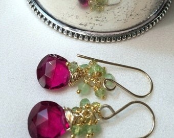 Red Topaz Cluster Earrings Green Gem Cluster Peridot or Prehnite Cluster Petite Wire Wrap  Earring Pink Green Gemstones