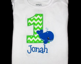 Custom Personalized Applique Birthday Number WHALE and NAME Shirt or Bodysuit - Lime Green Chevron Stripe, Royal Blue, and Lt Blue
