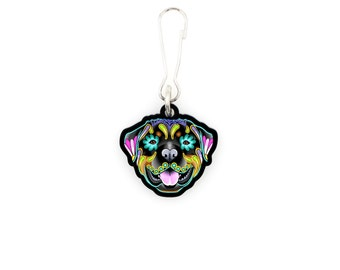 SALE Regularly 7.95 - Rottweiler - Collar Charm / Key Chain / Zipper Pull - Day of the Dead Sugar Skull Dog