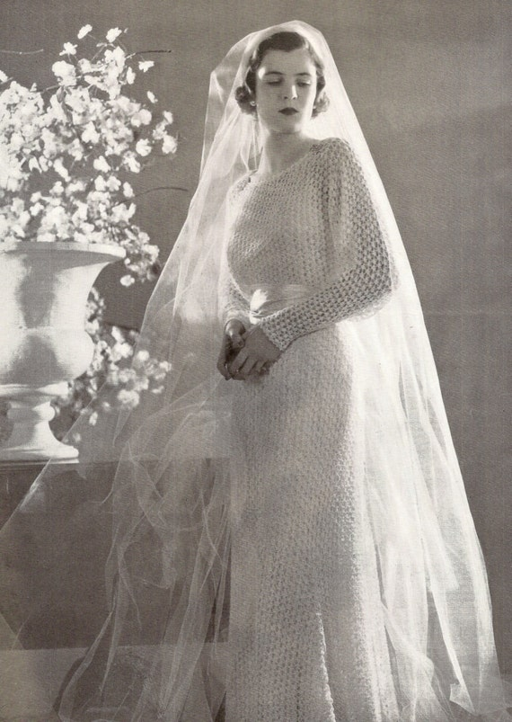 1934 Wedding Dress Vintage Knitted Pattern 258