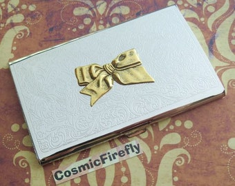 Tied Bow Business Card Case Gothic Victorian Vintage Inspired Style Slim Card Holder Gold Bow Present Women's Gift Silver Plated Case NEW
