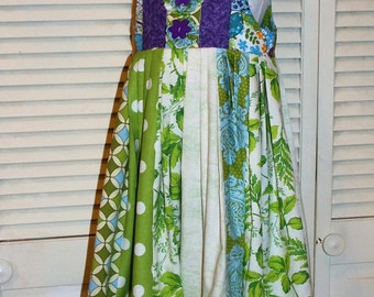 Cool Blue and Green Sundress One of a Kind, Size 6