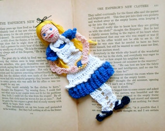 alice in wonderland thread crochet bookmark, unique bookmark, graduation gifts, gifts for readers, wall decor, nursery wall art