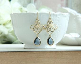 Blue Chandelier Earrings, Venetian Drop Earring, Something Blue Earring. Blue Victorian Dangle Earring Bridesmaid Gift, Silver Blue Wedding
