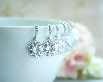 SPECIAL PRICE - Set of 10, Ten Pairs Wedding Earrings Round Cubic Zirconia White Silver Plated Earrings. Wedding. 10 Bridesmaid Gift. Bridal