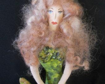 Handpainted Mermaid ornament, Mermaid doll, Enchantress of the Sea