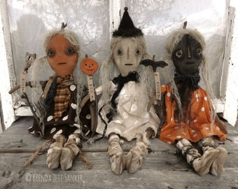 EPATTERN - Ghoul Friends primitive folk art pumpkin ghost witch doll epattern