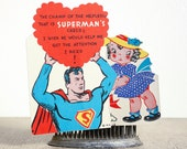 1940 Superman Valentine / 3D / Vintage Paper Love Note