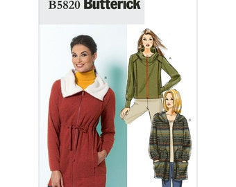 Jacket Sewing Pattern Butterick 5820 Size 14 to 22 Unlined Casual Coat Womens Loose Jacket Collar or Hood Exposed Zipper Pockets UNCUT