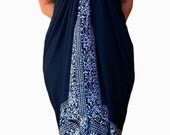 PLUS SIZE Sarong Batik Pareo Beach Sarong - Womens Plus Size Clothing - Extra Long Wrap Skirt or Dress - Navy Blue & White Swimsuit Cover Up