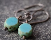 Petite bohemian style sterling silver hoop and turquoise Czech glass bead earrings