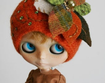 OOAK Blythe Hat or Cloche - Shades of Autumn - Flower Hat or Beanie