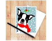 Boston Terrier Card, Christmas Card Set, Dog Cards, Seasons Greetings, Holiday Cards, Dog Christmas Cards, Dog Christmas, Let It Snow