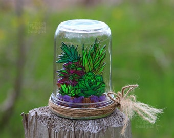 terrarium / succulent plants / Spring garden / botanical home decor / faux garden / table centerpiece / garden in a jar / gifts under 20