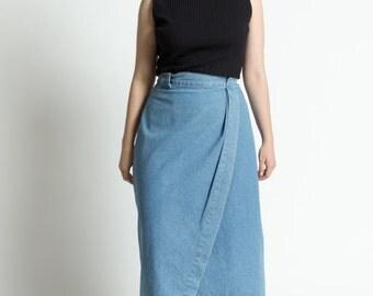 Vintage 90s Blue Denim Tulip Wrap Midi Skirt | L