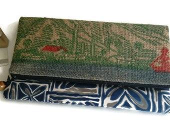 Reserved Listing. Foldover Clutch with Genuine Koa Wood Pull. Recycled, Maui, USA Coffee Bag. Handmade in Hawaii.