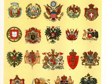 SALE 30% OFF Vintage Coats of Arms Prior 1918 Litho Print / English Dictionary Copyright 1946 Lithograph of Shields Crests Chart To Frame