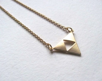 Triangle cutout pendant bib necklace on 14k gold plate chain, geometric necklace