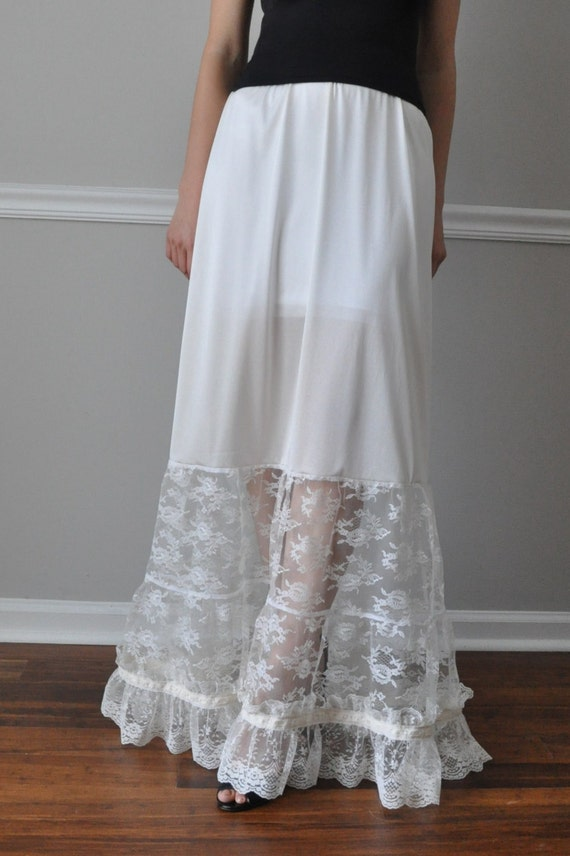 Slip Extender Long Tiered Ivory Or White Lace Steampunk