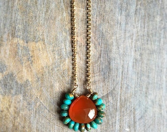 Turquoise and Carnelian Necklace, Gemstone Pendant, Southwestern Jewelry, Bohemian Jewelry, Gold Filled Chain Necklace