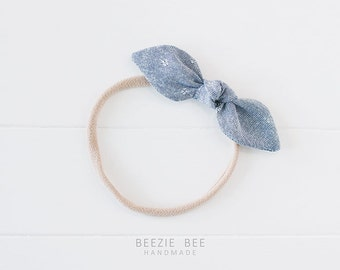 """Knotted Fabric Hair Bow - """"Chambray"""" -Hand Tied - Babies, Toddlers, Girls - Nylon Headband - Clip"""