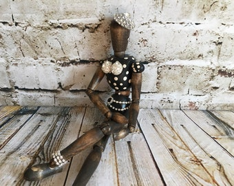 Wood Mannequin, artist mannequin,wood scupture, painted mannequin, upcycled mannequin, one of a kind,whimsical statue,funky,mannequin