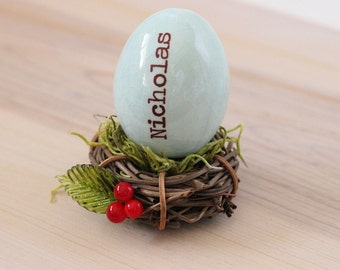 Personalized name egg and date ornament, custom bird egg, table place card holder, new baby gift