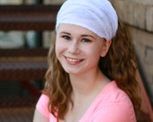 White Head Scarf, White Headscarf, Adult Head Scarf, Alopecia Headband, White Head Wrap (#2612) S M L X