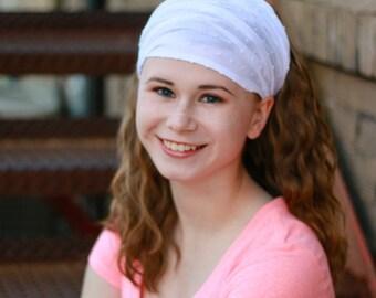 Pretied Headwrap White Extra Wide Headscarf Shabby Hair Band White Modest Head Wrap Alopecia Headband (#2612) S M L X