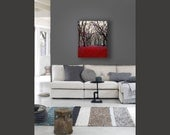 Large Canvas Art, Central Park, Red, Gray, Black, Rustic Decor, New York Photography on Canvas, Wall Art Canvas
