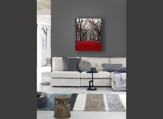 Black Red Canvas Art, Central Park, Red Fall Trees, New York Canvas, Rustic Canvas Wall Art, Red Wall Art Canvas
