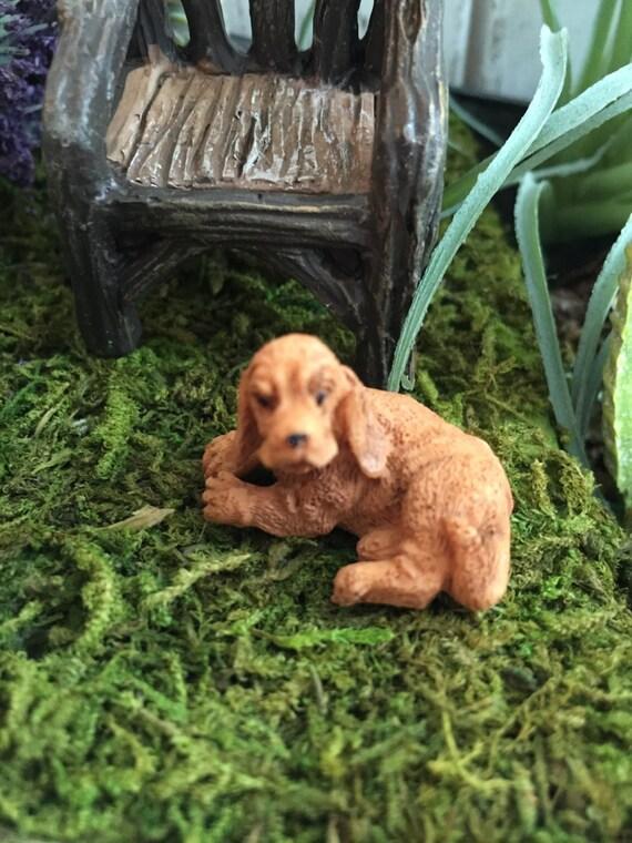 SALE Miniature Golden Cocker Spaniel Dog Figurine, Fairy Garden Accessory, Home & Garden Decor, Topper