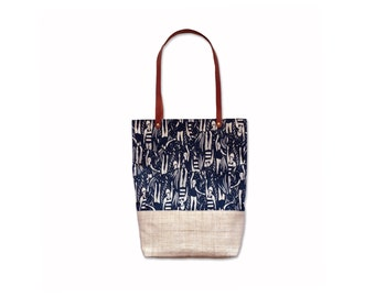 Tote Bag with screen print, hemp base and leather straps - Limited Edition