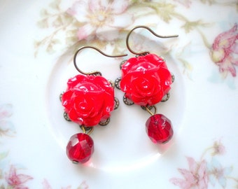 Red Rose Earrings Red Earrings Red Drop Earrings Dangle Flower Earrings Red Flower Earrings Red Jewelry Red Glass Earrings Gift For Woman