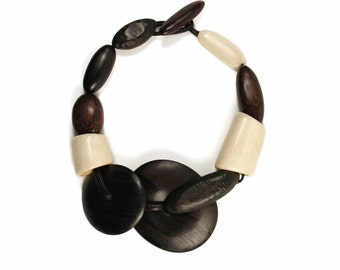 Oversized Beaded Statement Necklace - Huge Chunky Beads - BONE WOOD LEATHER Collar - Bold African Tribal Jewelry - Vintage Runway Necklace