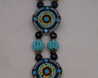 Blue bracelet, turquoise bracelet, blue and turquoise, cuff bracelet, bold bracelet, boho bracelet, southwest bracelet, gift for women