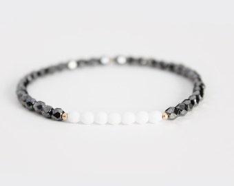 Hematite and White Beaded Bracelet - Gold Filled or Sterling Silver - Naeva