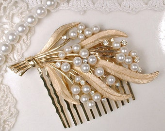 OOAK Ivory Pearl Rhinestone Gold Leaf Bridal Hair Comb, TRIFARI Designer Vintage Wedding Headpiece Rustic Chic Country Modern Clip Hairpiece
