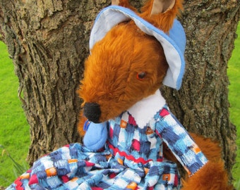 Miss Prim Fox Toy,Chestnut Plush Stuffed Toy,Dressed Fox Toy,Adult Companion Toy,Cool Toddler Toy,Toy for Tots,Easter Gift, Easter Present.