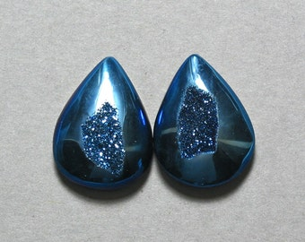 Agate Druzy blue drop pear cabochons two 15X20mm designer cab C1