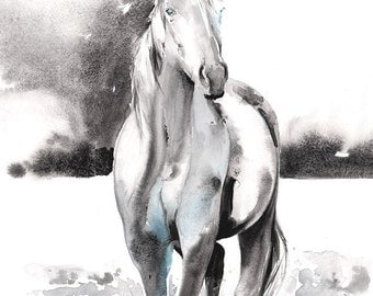 Horse Print, Horse Painting, Horse Art, Print of Watercolor Horse Painting, Horse Watercolor, Horse Illustration, Black and white horse
