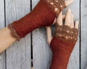 Golden Calvados  - Elegant Crochet Fingerless Gloves in terra-cotta, cinnamon, brick and golden brown