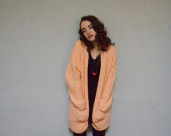 STOREWIDE CLEAROUT SALE extra long cardigan 80s vintage 1980s hipster indie high fashion peach coral pastel warm chunky knit sweater kitsch