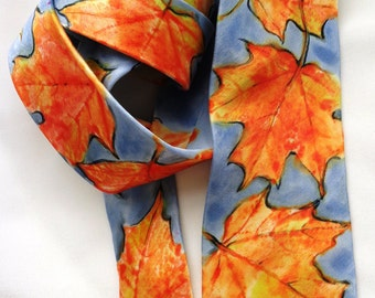 silk necktie unique luxury hand painted Maple Leaf orange blue charmeuse wearable art unisex men