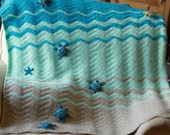 Sea Turtle and Sea Star Blanket, Crochet Crib Blanket, Baby Blanket, Throw