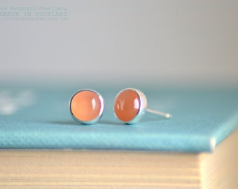 Peach Moonstone Cabochon Studs