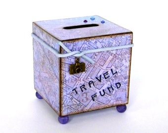 Travel Coin Bank Vacation World Map Decoupaged Wood Square Savings Bank Piggy Bank Vintage Style Map Purple
