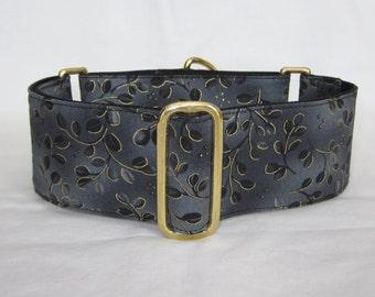 Gray Elegance Martingale Dog Collar - 1.5 or 2 Inch - black floral sparkling gold